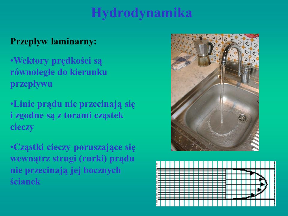 Hydrodynamika Przepływ laminarny:
