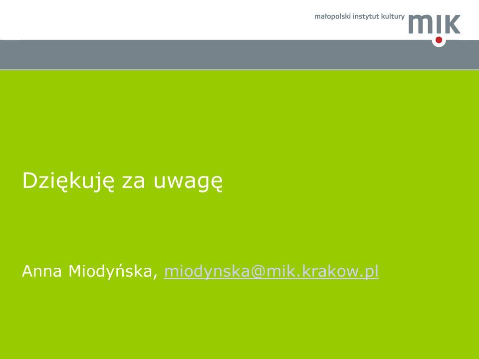 Dziękuję za uwagę Anna Miodyńska, miodynska@mik.krakow.pl 21