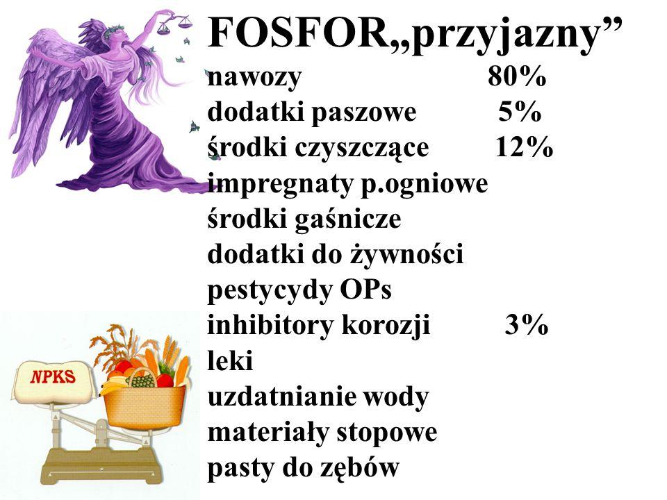 """FOSFOR""""przyjazny nawozy 80% dodatki paszowe 5% środki czyszczące 12%"""