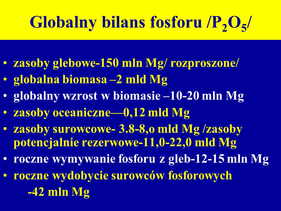 Globalny bilans fosforu /P2O5/