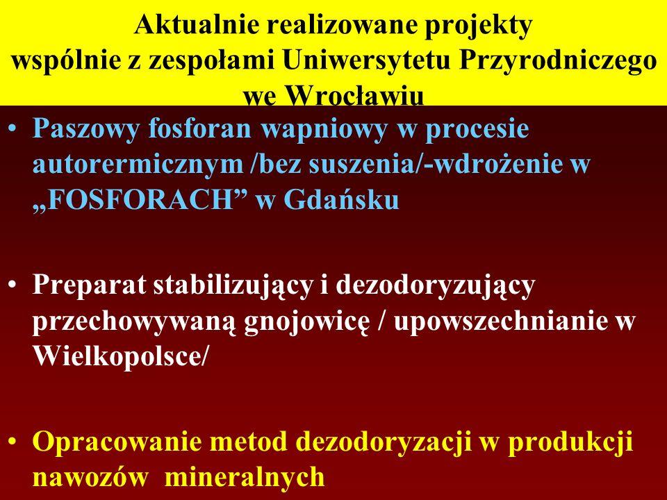 Aktualnie realizowane projekty wspólnie z zespołami Uniwersytetu Przyrodniczego we Wrocławiu