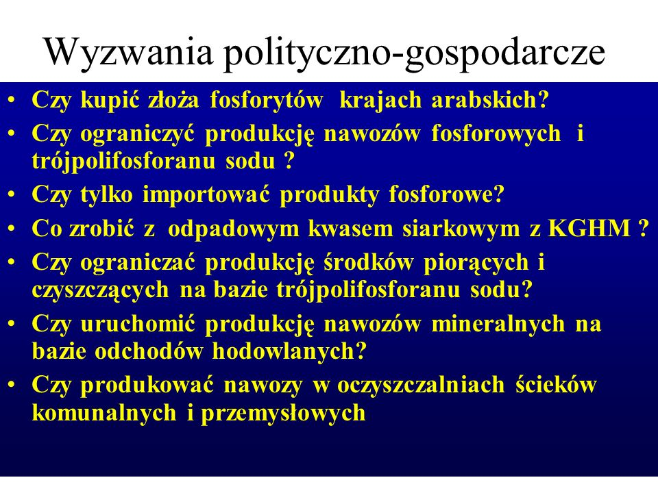 Wyzwania polityczno-gospodarcze