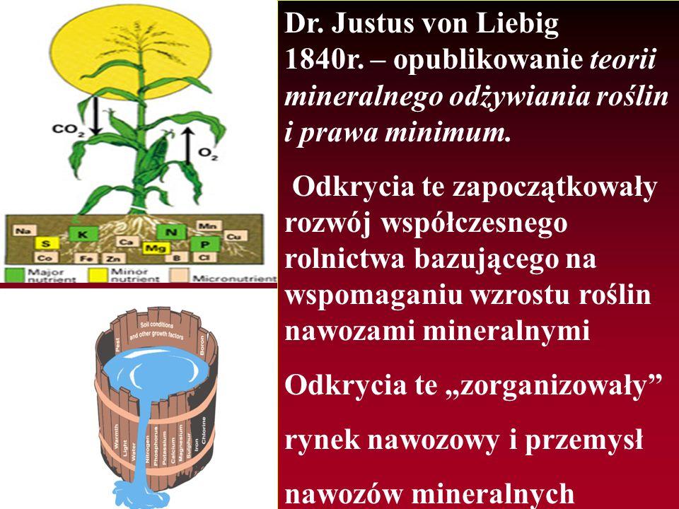 Dr. Justus von Liebig 1840r. – opublikowanie teorii mineralnego odżywiania roślin i prawa minimum.