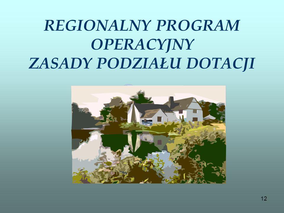 REGIONALNY PROGRAM OPERACYJNY ZASADY PODZIAŁU DOTACJI