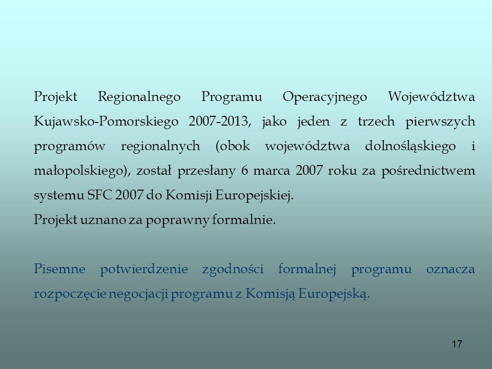 Projekt Regionalnego Programu Operacyjnego Województwa Kujawsko-Pomorskiego 2007-2013, jako jeden z trzech pierwszych programów regionalnych (obok województwa dolnośląskiego i małopolskiego), został przesłany 6 marca 2007 roku za pośrednictwem systemu SFC 2007 do Komisji Europejskiej.