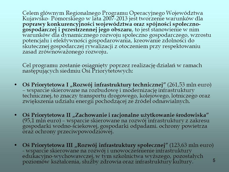 Celem głównym Regionalnego Programu Operacyjnego Województwa Kujawsko- Pomorskiego w lata 2007-2013 jest tworzenie warunków dla poprawy konkurencyjności województwa oraz spójności społeczno-gospodarczej i przestrzennej jego obszaru, to jest stanowienie w nim warunków dla dynamicznego rozwoju społeczno gospodarczego, wzrostu potencjału i efektywności gospodarowania, kreowanie zdolności do skutecznej gospodarczej rywalizacji z otoczeniem przy respektowaniu zasad zrównoważonego rozwoju.