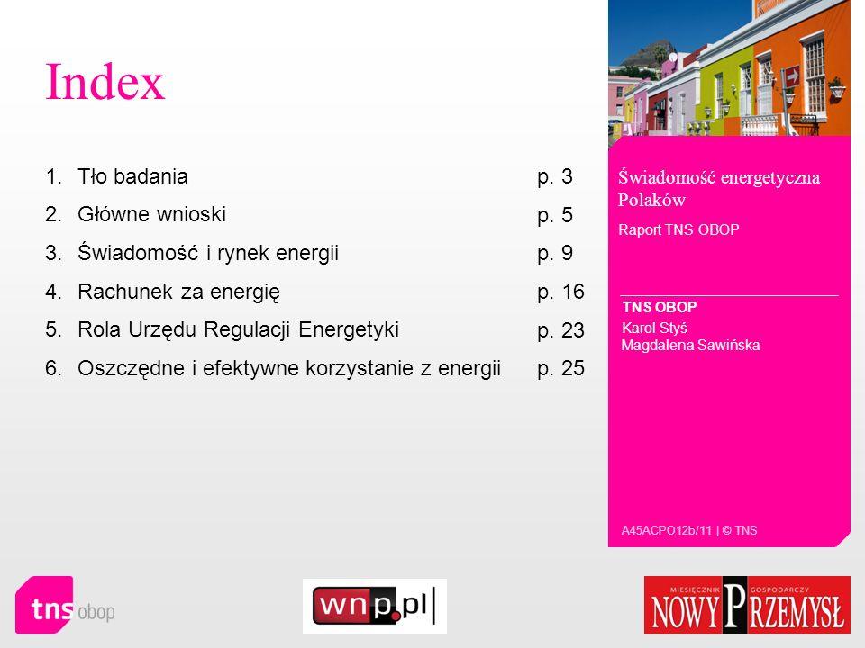 Index Tło badania p. 3 Główne wnioski p. 5 Świadomość i rynek energii