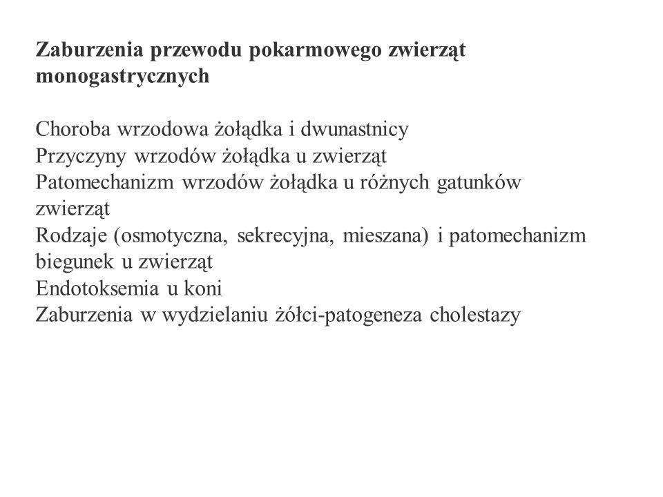 Zaburzenia przewodu pokarmowego zwierząt monogastrycznych