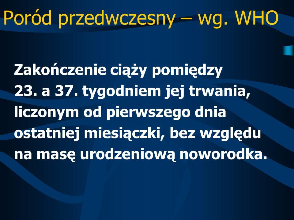 Poród przedwczesny – wg. WHO