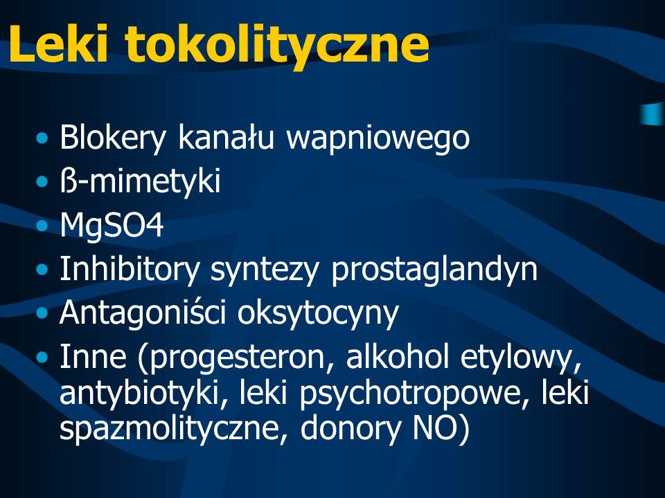 Leki tokolityczne Blokery kanału wapniowego ß-mimetyki MgSO4