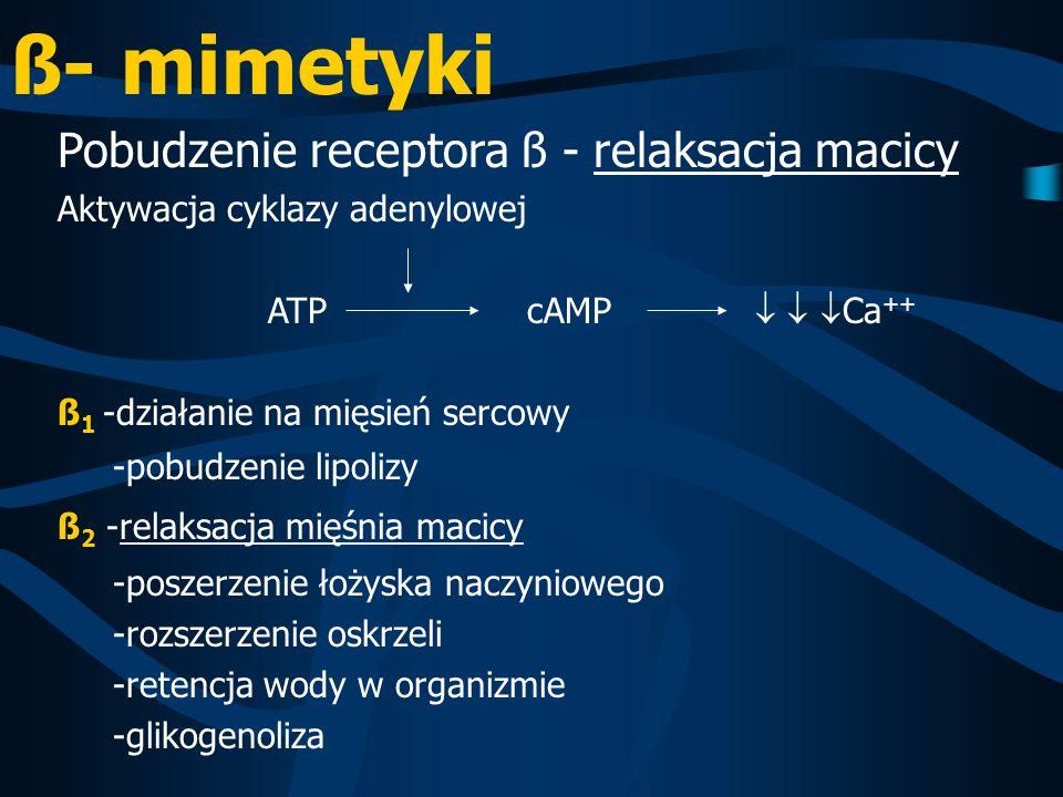 ß- mimetyki Pobudzenie receptora ß - relaksacja macicy