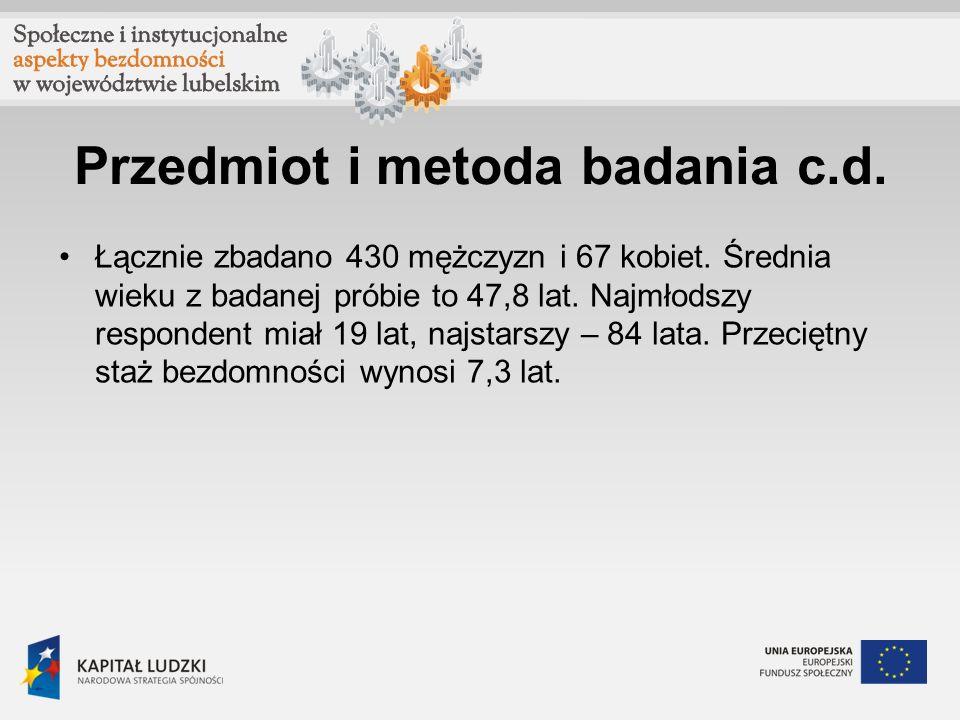 Przedmiot i metoda badania c.d.