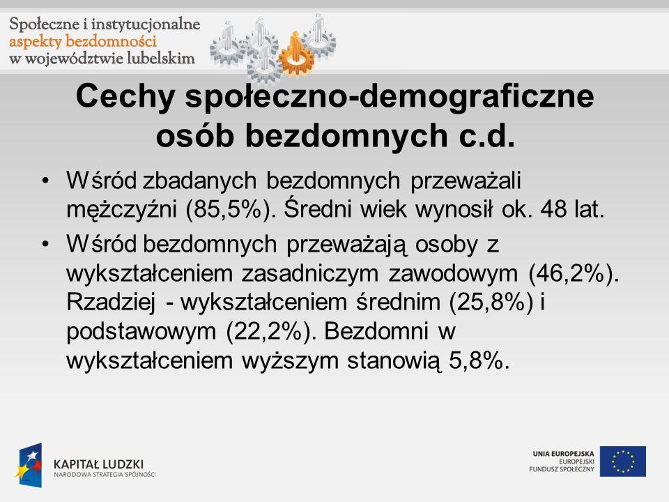 Cechy społeczno-demograficzne osób bezdomnych c.d.