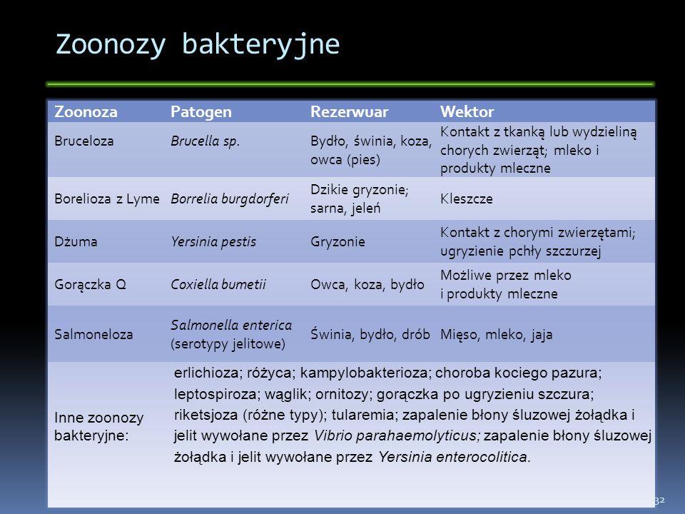 Zoonozy bakteryjne Zoonoza Patogen Rezerwuar Wektor Bruceloza
