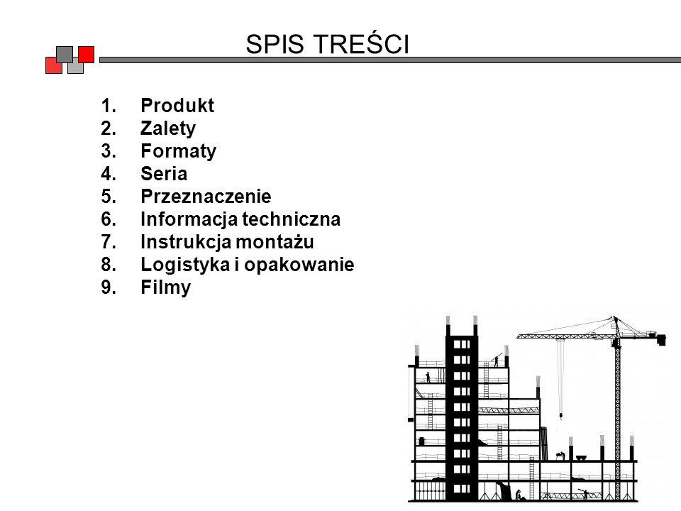 SPIS TREŚCI Produkt Zalety Formaty Seria Przeznaczenie