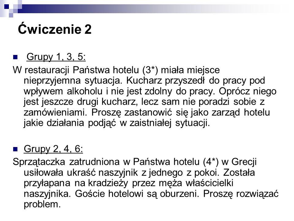 Ćwiczenie 2 Grupy 1, 3, 5: