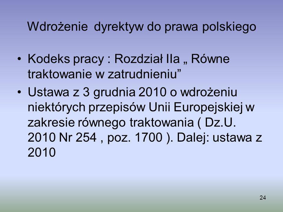 Wdrożenie dyrektyw do prawa polskiego