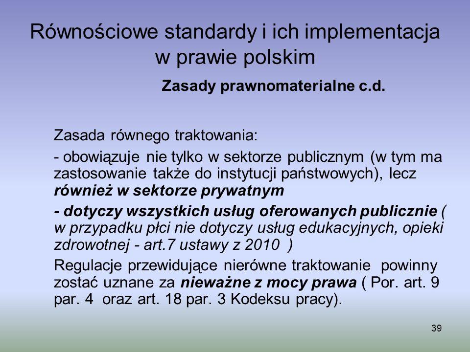 Równościowe standardy i ich implementacja w prawie polskim