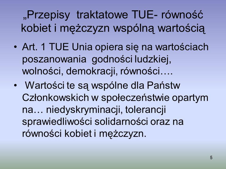 """""""Przepisy traktatowe TUE- równość kobiet i mężczyzn wspólną wartością"""