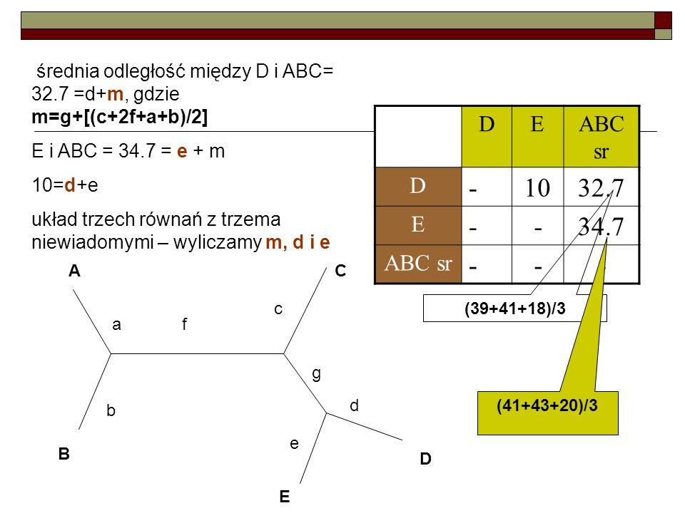 - 10 32.7 34.7 D E ABC sr E i ABC = 34.7 = e + m 10=d+e