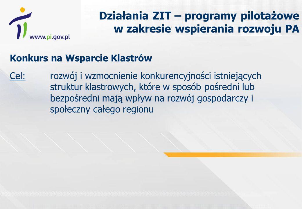 Działania ZIT – programy pilotażowe w zakresie wspierania rozwoju PA