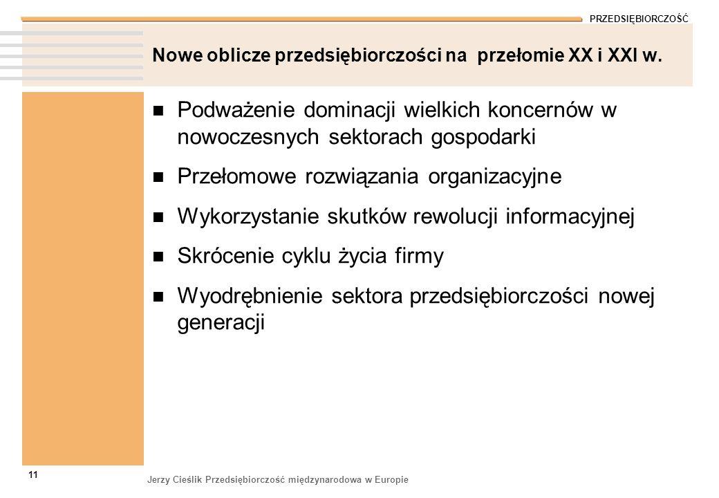 Nowe oblicze przedsiębiorczości na przełomie XX i XXI w.