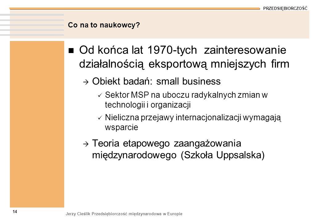 Co na to naukowcy Od końca lat 1970-tych zainteresowanie działalnością eksportową mniejszych firm.
