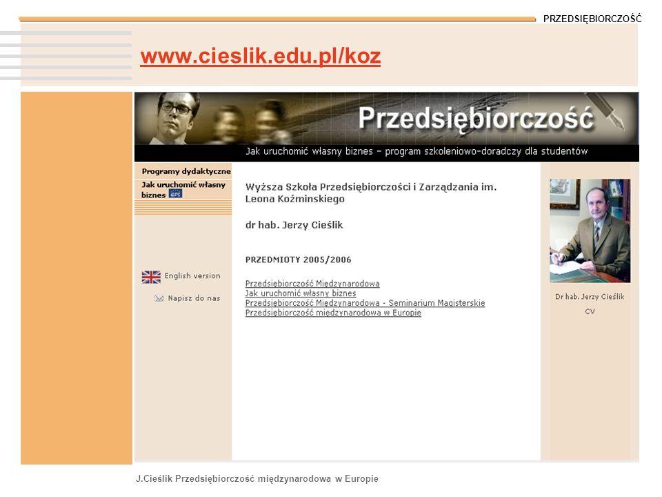 www.cieslik.edu.pl/koz J.Cieślik Przedsiębiorczość międzynarodowa w Europie
