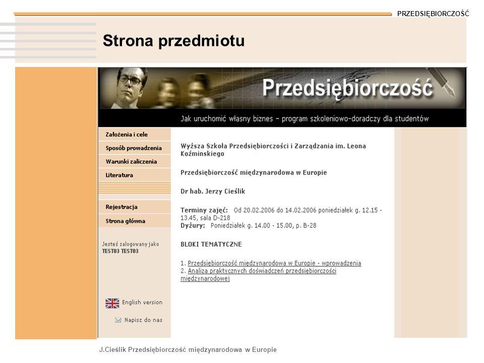 Strona przedmiotu J.Cieślik Przedsiębiorczość międzynarodowa w Europie