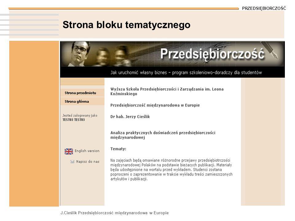 Strona bloku tematycznego