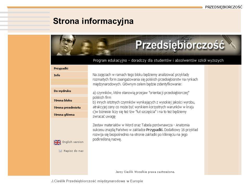 Strona informacyjna J.Cieślik Przedsiębiorczość międzynarodowa w Europie