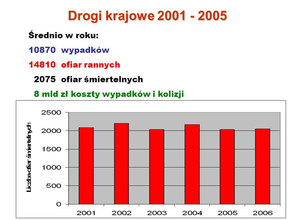 Drogi krajowe 2001 - 2005 Średnio w roku: 10870 wypadków