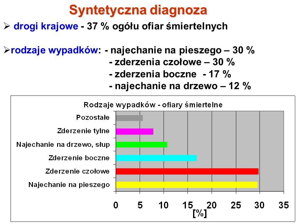 Syntetyczna diagnoza drogi krajowe - 37 % ogółu ofiar śmiertelnych