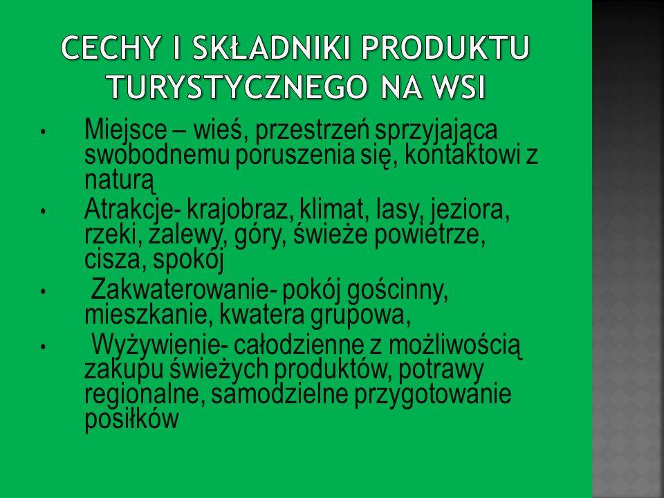 Cechy i składniki produktu turystycznego na wsi