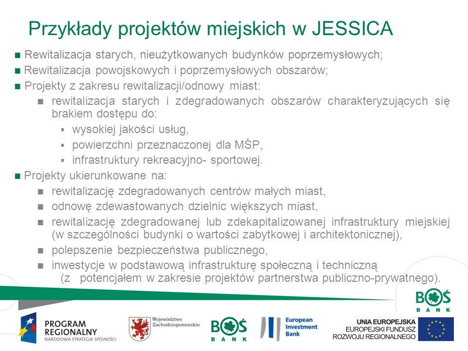Przykłady projektów miejskich w JESSICA