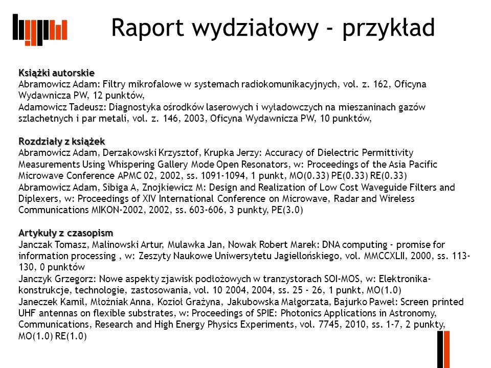 Raport wydziałowy - przykład