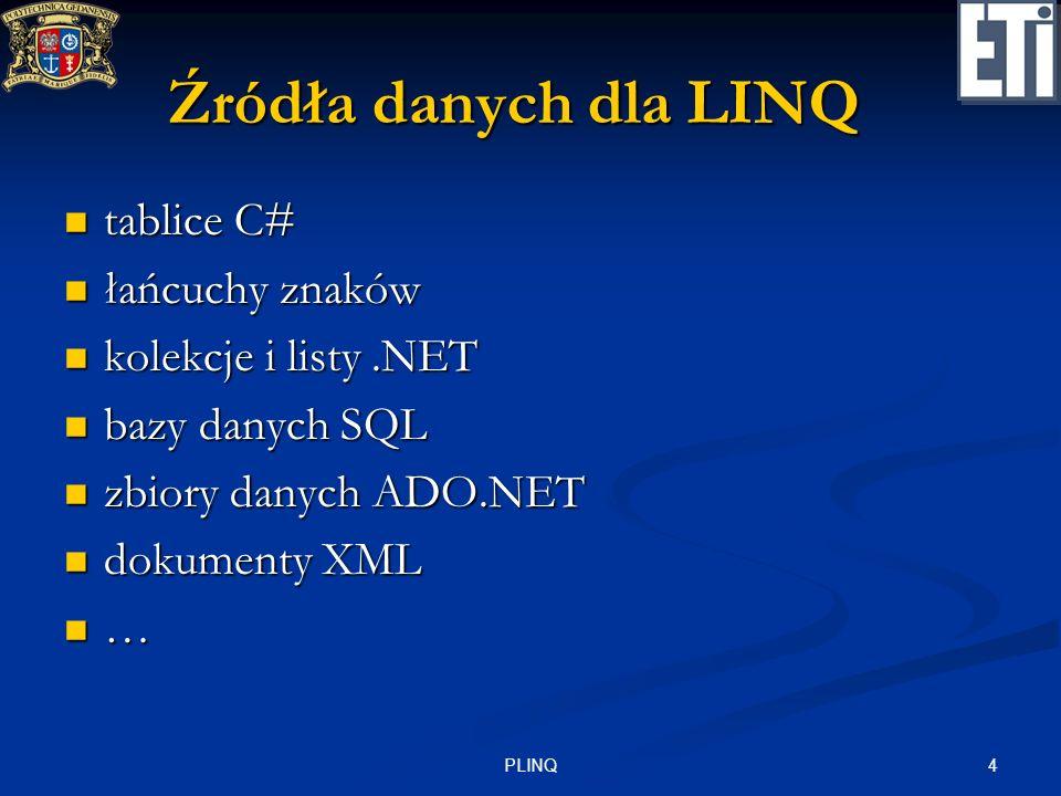 Źródła danych dla LINQ tablice C# łańcuchy znaków