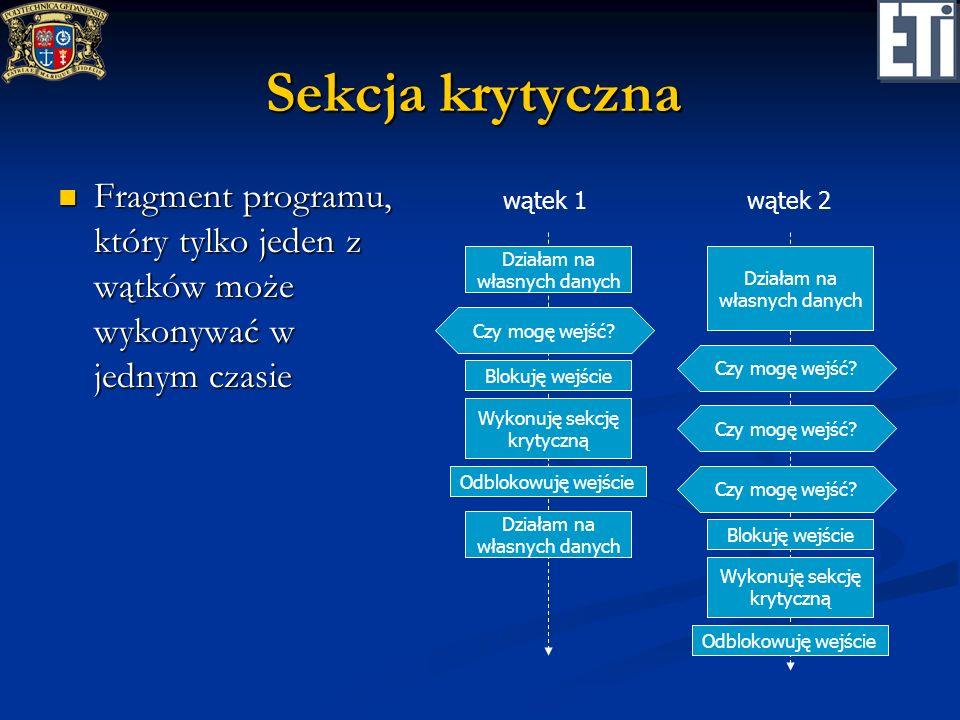 Sekcja krytyczna Fragment programu, który tylko jeden z wątków może wykonywać w jednym czasie. wątek 1.