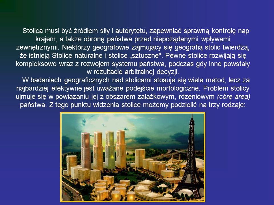 """Stolica musi być źródłem siły i autorytetu, zapewniać sprawną kontrolę nap krajem, a także obronę państwa przed niepożądanymi wpływami zewnętrznymi. Niektórzy geografowie zajmujący się geografią stolic twierdzą, że istnieją Stolice naturalne i stolice """"sztuczne . Pewne stolice rozwijają się kompleksowo wraz z rozwojem systemu państwa, podczas gdy inne powstały w rezultacie arbitralnej decyzji."""