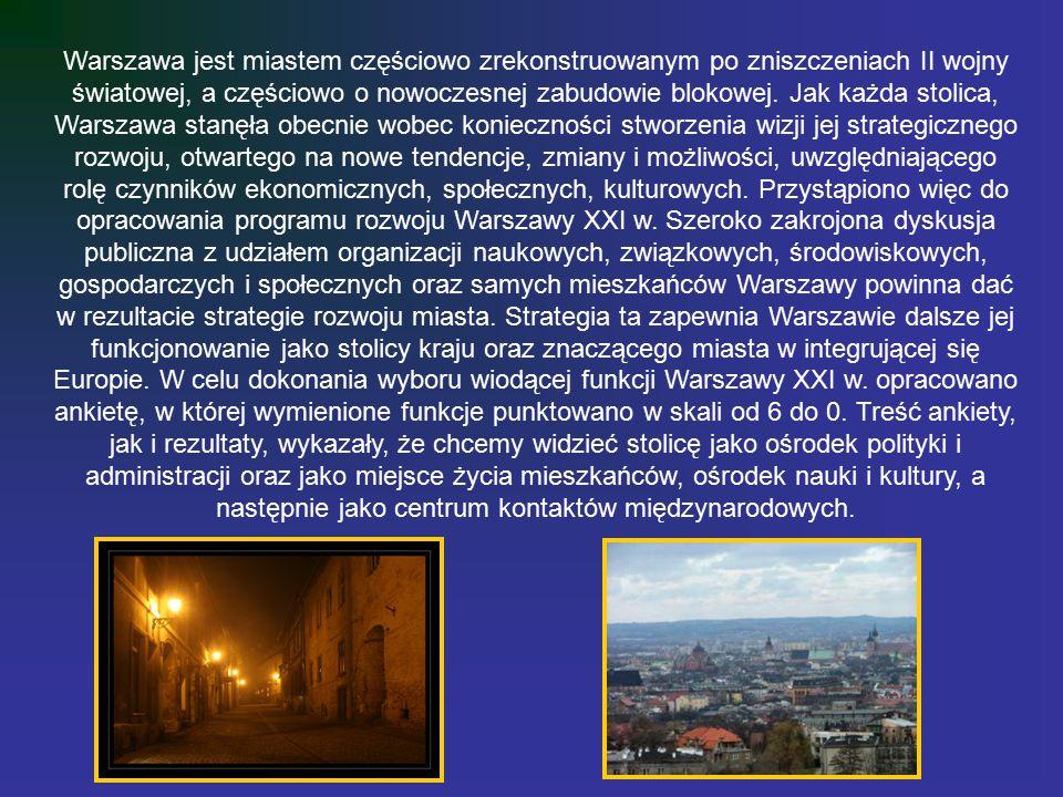 Warszawa jest miastem częściowo zrekonstruowanym po zniszczeniach II wojny światowej, a częściowo o nowoczesnej zabudowie blokowej.