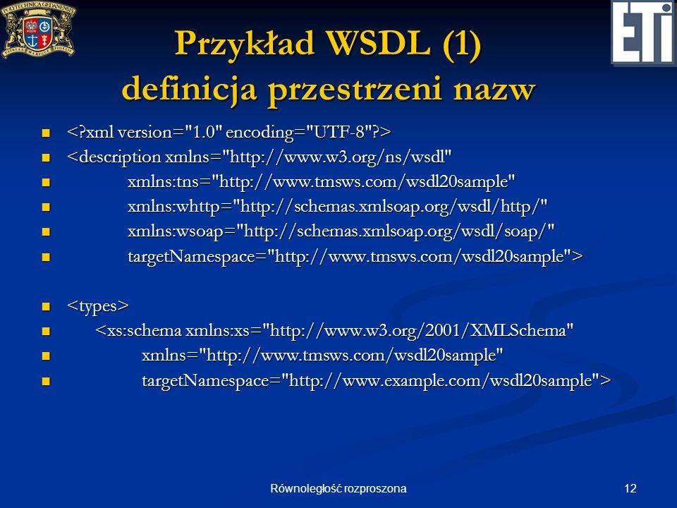 Przykład WSDL (1) definicja przestrzeni nazw