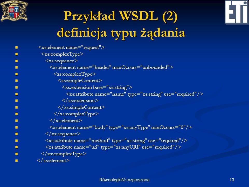 Przykład WSDL (2) definicja typu żądania