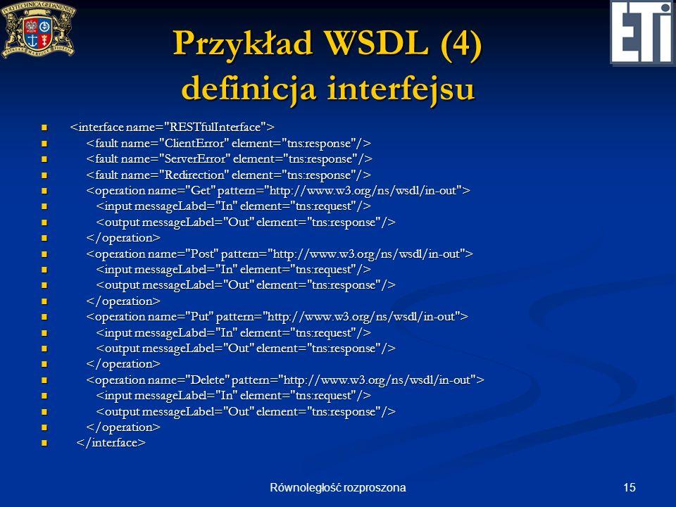 Przykład WSDL (4) definicja interfejsu