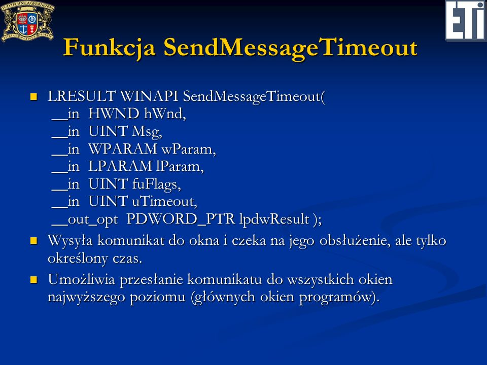 Funkcja SendMessageTimeout