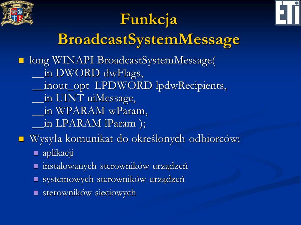 Funkcja BroadcastSystemMessage