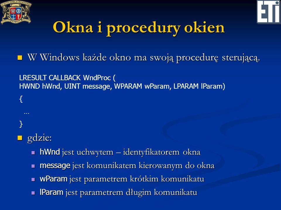 Okna i procedury okien W Windows każde okno ma swoją procedurę sterującą.