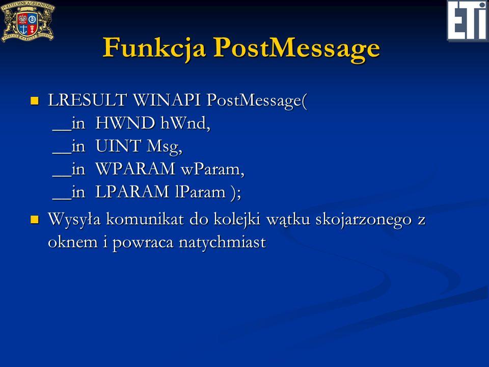 Funkcja PostMessageLRESULT WINAPI PostMessage( __in HWND hWnd, __in UINT Msg, __in WPARAM wParam, __in LPARAM lParam );