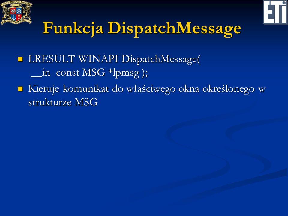 Funkcja DispatchMessage