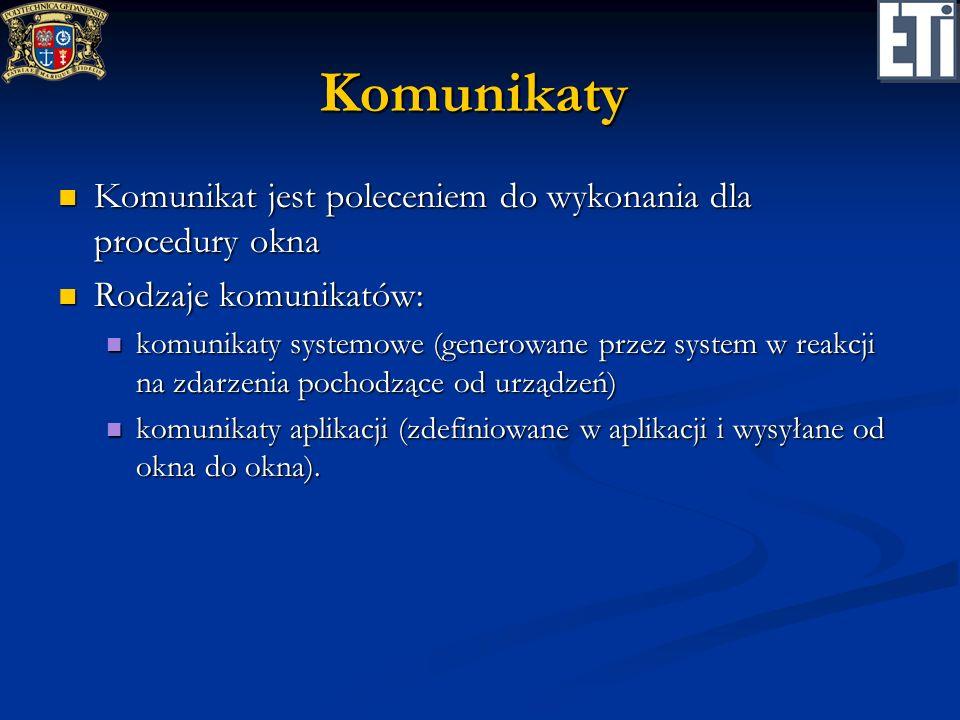 Komunikaty Komunikat jest poleceniem do wykonania dla procedury okna