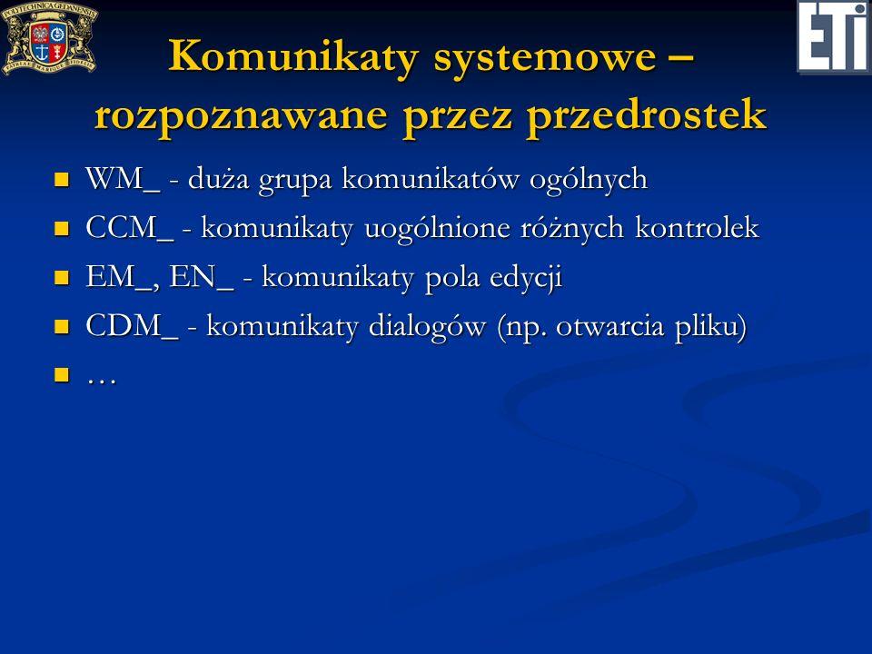 Komunikaty systemowe – rozpoznawane przez przedrostek